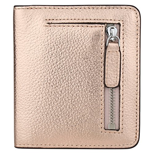 RFID Blocking Wallet Women's Small Compact Bifold Leather Purse Front Pocket Mini Wallet (Champagne Gold)