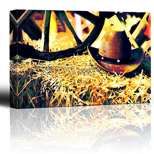 Cowboy hat on a hay bale Wagon Wheel in the background Colorful painterly image Rustic