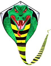 Mint's Colorful Life Large cobra kite with long tail for kids and adults, kite line and handle included, it will dominate the sky!
