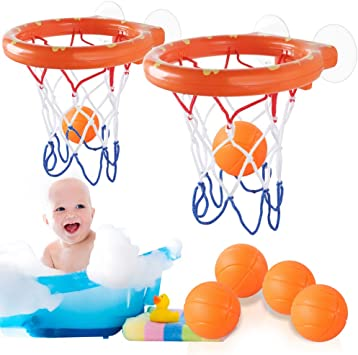 Heqishun - Juego de 2 Juegos de Juguetes de baño para Baloncesto y ...