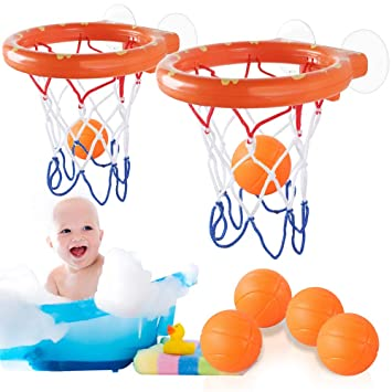 Heqishun Juguetes de Baño, 2 Piezas Mini Baloncesto Aro Set y 6 ...
