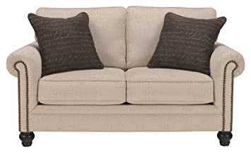 Ashley Furniture Signature Design - Milari Loveseat and 2 Pillows - Contemporary - Linen White