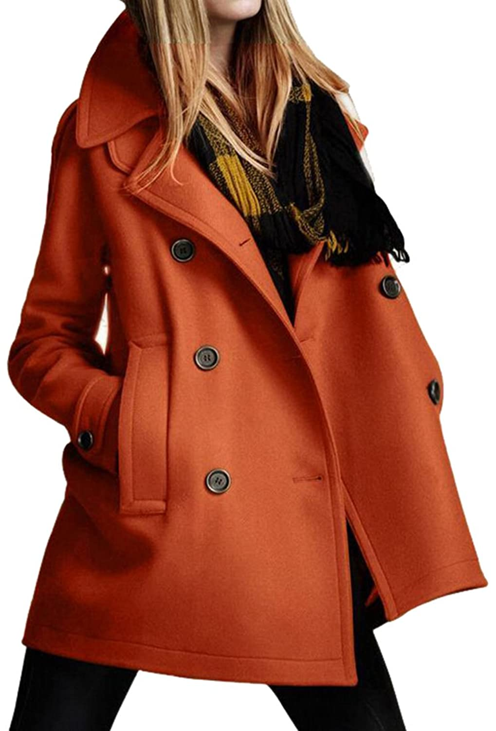 Papijam Womens Classic Wool-Blend Double Breasted Peacoats