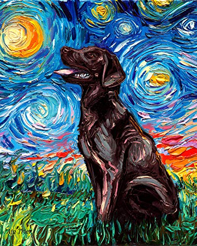 - Chocolate Labrador Starry Night Rectangle Art Print Cute dog artwork by Aja cute colorful van Gogh brown lab wall decor choose size and type of paper