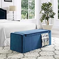 Fabroni Navy Velvet Storage Bench - Shoe Storage | Upholstered | Living Room, Entryway, Bedroom | Inspired Home