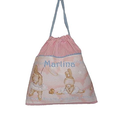 Bolsa merienda bailarinas ballet, en vichy de rayas rosas y blancas, personalizada con el nombre bordado (26 x 28 cm. aproximadamente)