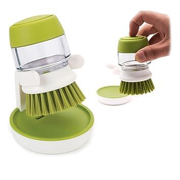 Potentcera Palma Cepillo con soporte para jabón dispensador platos ollas y sartenes vajilla limpia cocina cepillo de limpieza: Amazon.es: Hogar