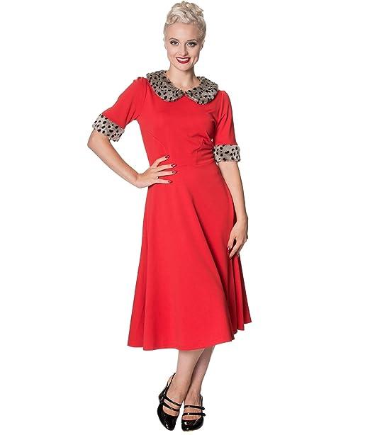 Dancing Days CAVIAR Piel Sintética AÑOS 50 Vestido Estilo Vintage - Rojo, UK 10 (