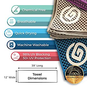 "Grounded Sport Cooling Towel (packaged as shown) by Bamboo Microfiber Sport Cooling Towel for Gym, Outdoors or Travel | Ultra Lite 12""x39"" in two-tone (Blue/Grey/Purple, Three)"
