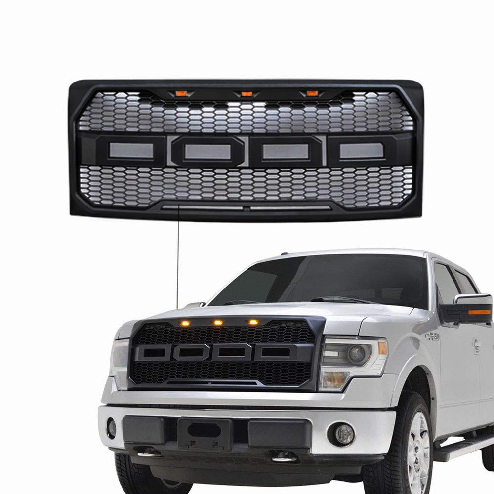 Fit 2009-2014 Ford F-150 F150 Grille Matte BLACK Raptor Style Conversion Grill w//F/&R