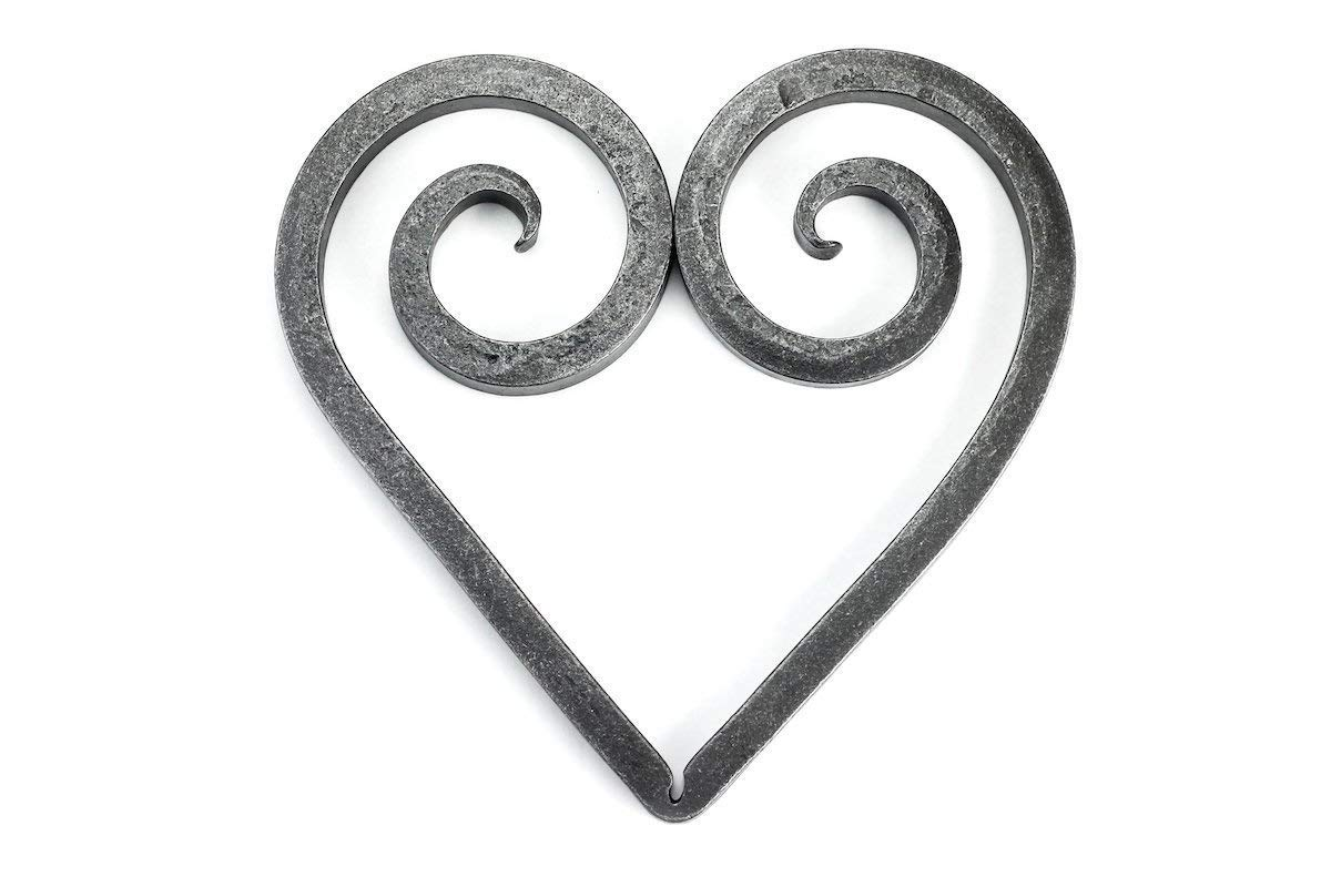 Trivet - Black Dog Ironworks | Rustic Heart Trivet, Hand Forged Iron Hot Dish Plate | Add country rustic charm to any table setting | Heart Style