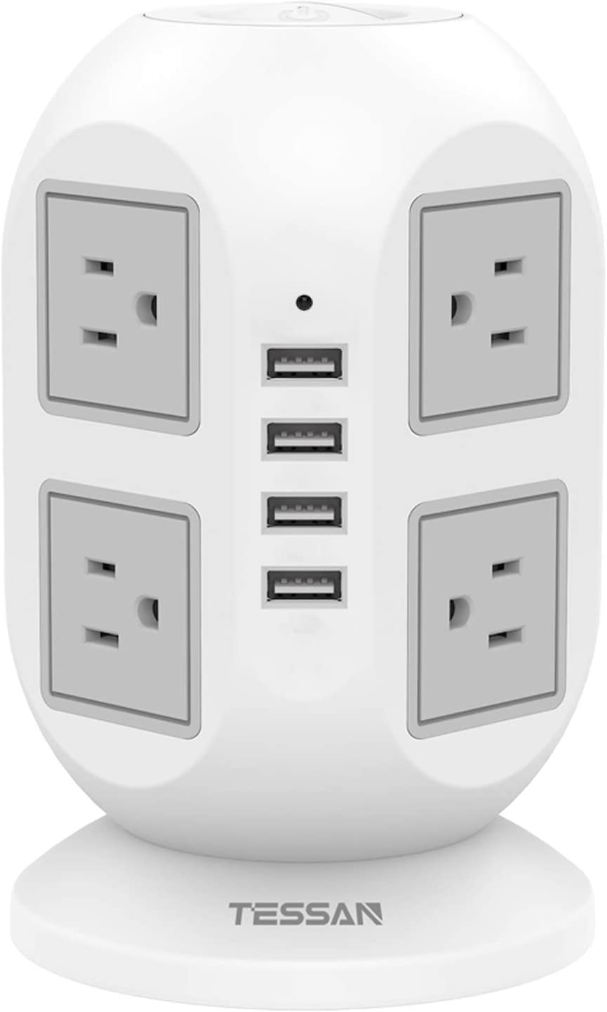 Power Strip Tower TESSAN Surge Protector 8 AC Outlets with 4 USB Ports Charging Station Long Extension Cord 10 Feet, Widely Spaced Multi Outlets, Circuit Breaker Safeguard for Home Office Dorm Room: Home Audio & Theater