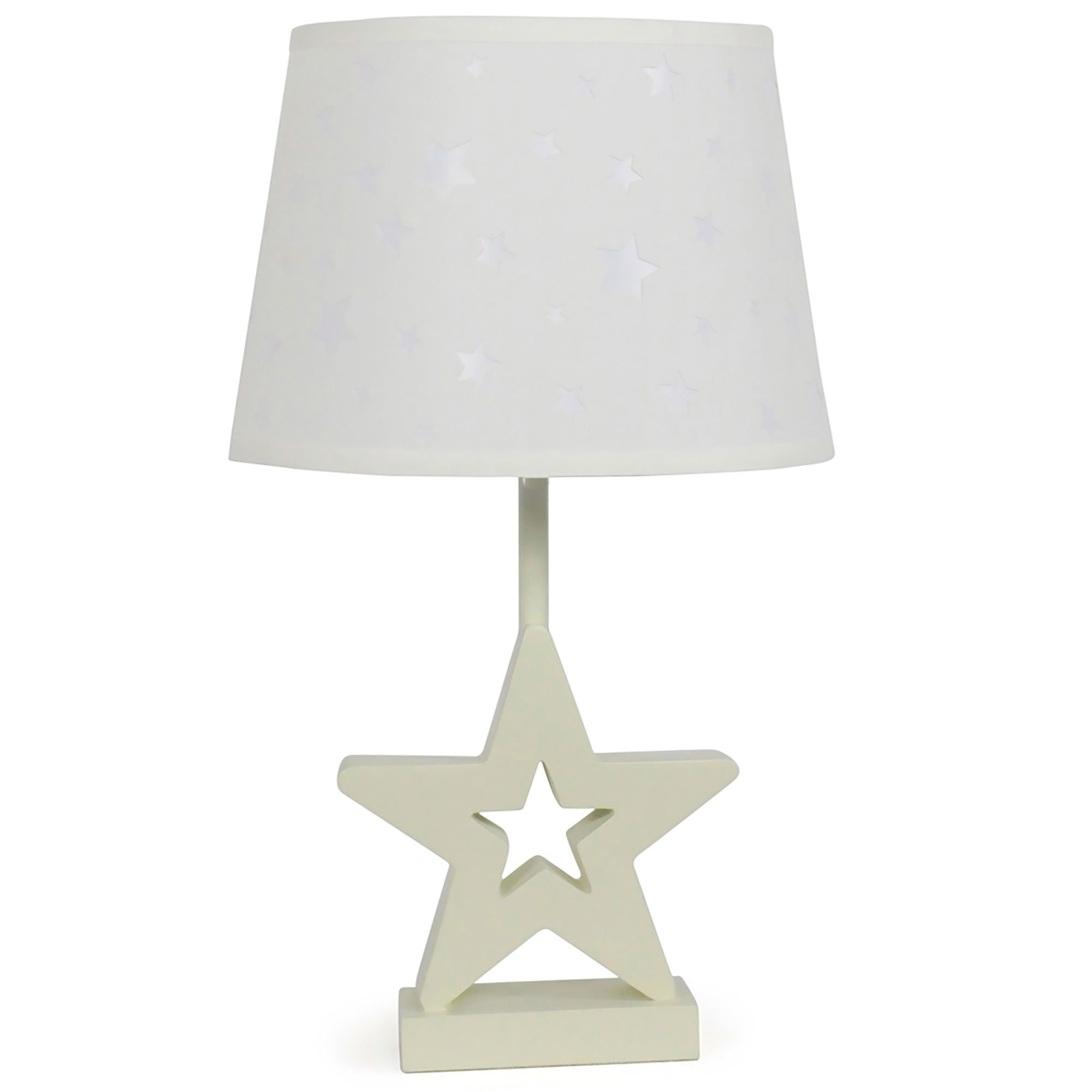 White Star Nursery Lamp Shade with White Star Base, CFL Bulb Included