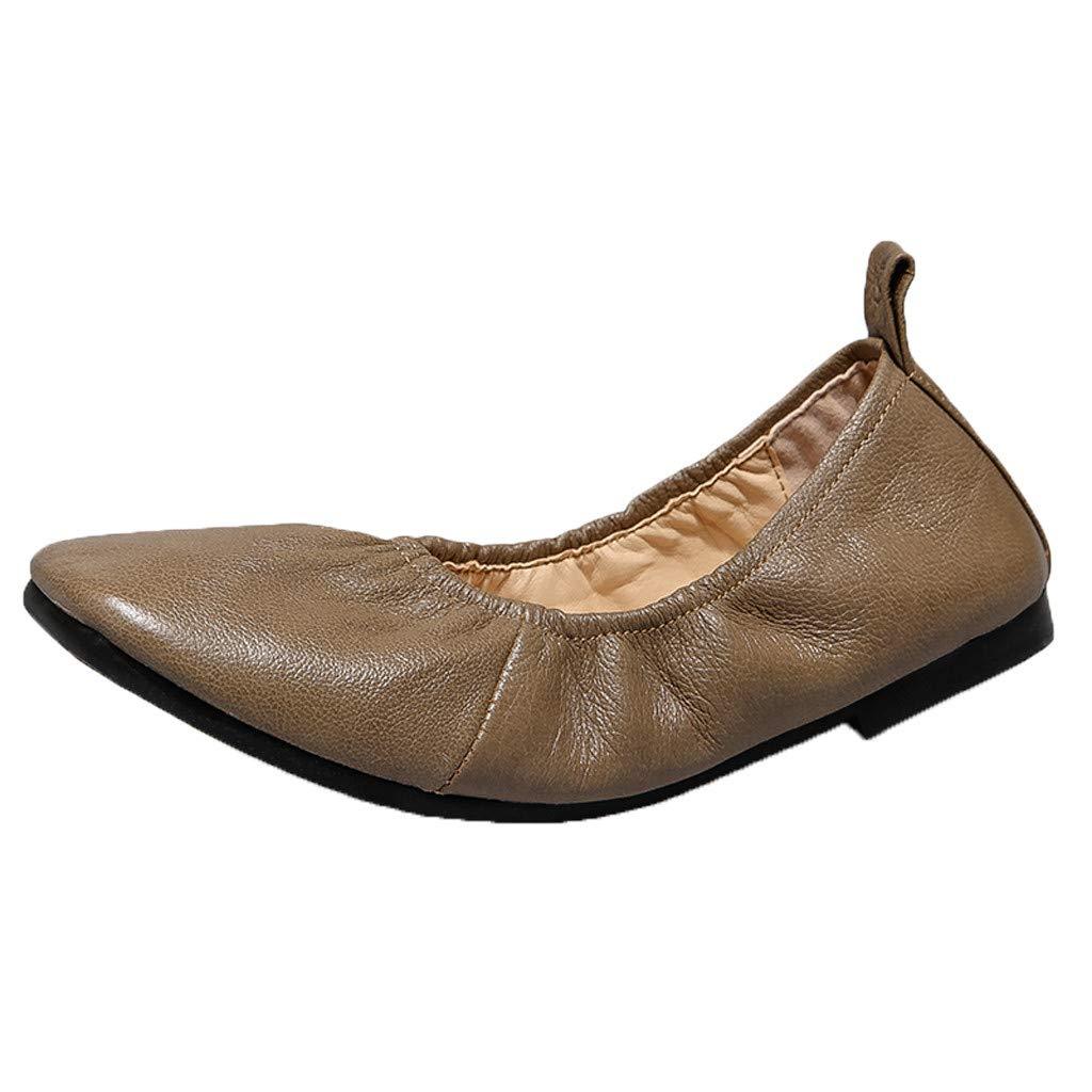 Shusuen Womens Foldable Buckle Slip On Ballet Flats Comfortable Square Toe Loafers Ballerina Walking Flats Shoes Beige
