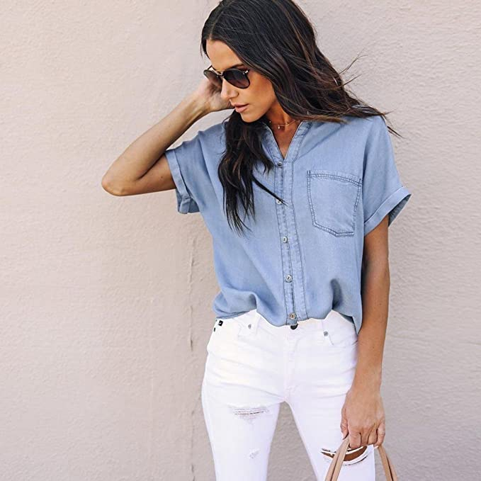 0e40a5a0 Amazon.com: YJYDADA Women Casual Soft Denim Shirt Tops Blue Jean Button  Short Sleeve Blouse Jacket: Sports & Outdoors