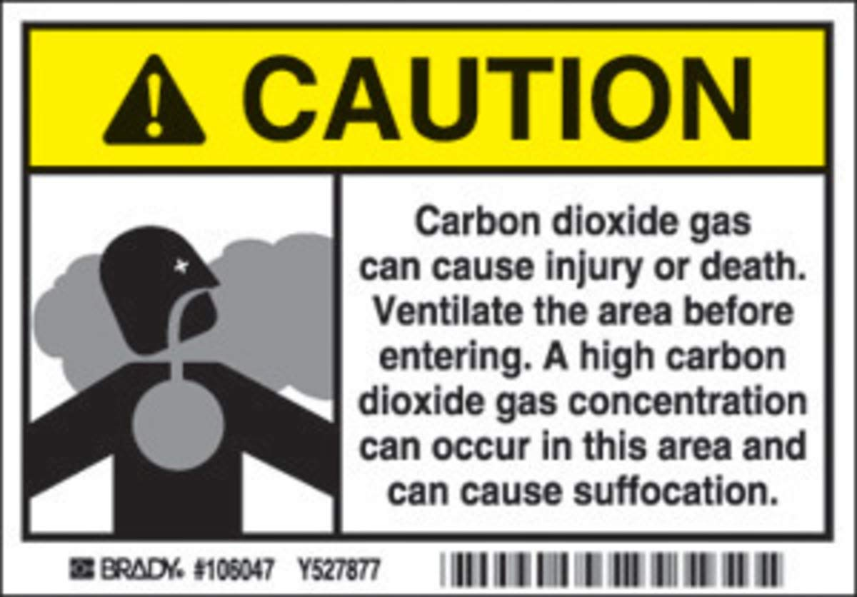 Brady 3 1/2'' X 5'' Black/Gray/Yellow/White Polyester Label''CARBON DIOXIDE GAS CAN CAUSE INJURY OR DEATH. VENTILATE THE AREA BEFORE ENTERING. A HIGH CARBON DIOXIDE GAS CONCENTRATION CAN OCCUR IN THIS''