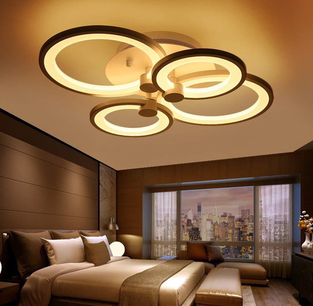 35W LED Modern Deckenleuchte Schlafzimmer Deckenlampe Kreative Runde Design Decke Leuchte Dimmbar Fernbedienung Acryl Lampenschirm Wohnzimmer Studio Schlafzimmerlampe Deckenbeleuchtung Ø58CM, 4 Ringe