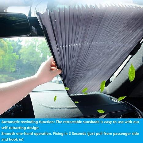 Sunshades For Cars >> Ecfac Car Windshield Sun Shade Retractable Sun Shade Easy To Install And Use Universal Car Sun Shades Keep Your Vehicle Cool