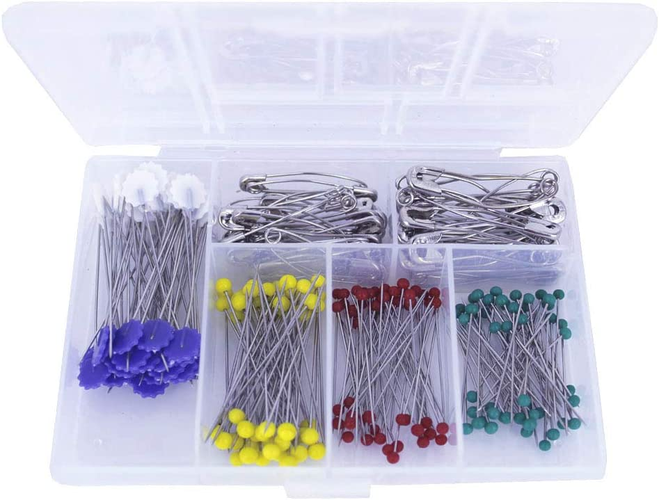 BESTCYC 250pcs Quilting Curved Safety Pin Straight Head Pins Set with Plastic Cases for Knitting Dressmaker and Arts Crafts Quilting