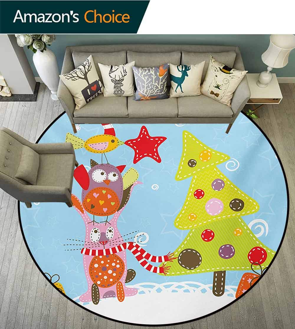 RUGSMAT Christmas Machine Washable Round Bath Mat,Funny Cartoon Stylized Cat Owl and A Bird Best Friends Animals Gifts Noel Print Non-Slip No-Shedding Bedroom Soft Floor Mat,Round-63 Inch