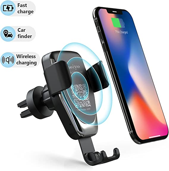 Wireless Car Charger Phone Mount, 2 in 1 Car Air Vent & Dashboard Universal Phone Holder 10W Fast Charging Compatible with iPhone 88 PlusXXSXRXS
