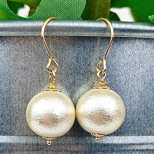 Dangle Drop Earrings 14k Gold Filled Cotton Pearls Jewelry Gift for Women Girls