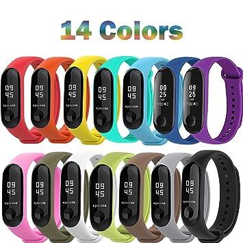 ... Mi Band 3,Coloridos Impermeable Reemplazo Correas Reloj Silicona Banda para XIAOMI Mi Band 3-14 Colores Compuesto: Amazon.es: Deportes y aire libre