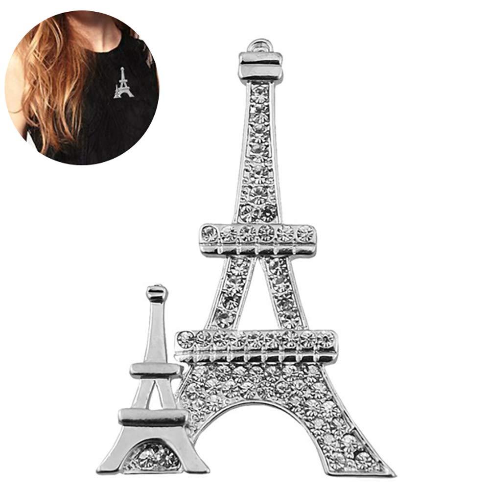 Rocita Paris Tour Eiffel Broche Sliver plaqué Broche Cristal Unique Design Broche Femme (Argent)