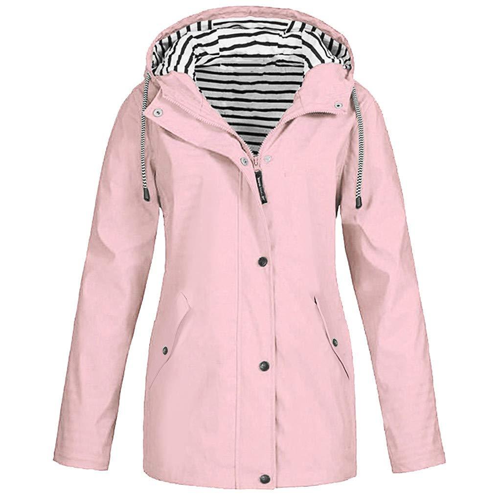 Womens Lightweight Travel Trench Hooded Jacket Waterproof Raincoat Windproof Hiking Coat Rain Jacket Sportswear (3X-Large, Pink) by Aritone