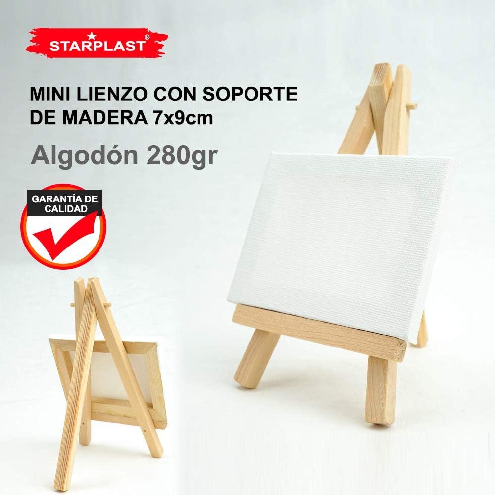 Pack 10 Mini Paneau de Toile blanc avec Socle en Bois en Cotton Dessiner 7 x 9 cm pour Peindre avec Chevalet Canvas Starplast Colorier