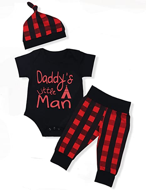 5d56e9d68f76b Baby Boys Girls Clothes Daddy's Little Man Print Bodysuit Outfits Clothes  Set with Hat (0