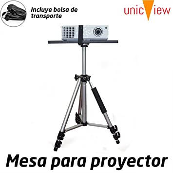 Mesa para proyector Plegable y portatil de Aluminio con Refuerzo Anti caidas y Plataforma Antideslizante para el proyector, Ajustable Desde 50cm hasta ...