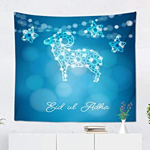 Qryipd Tapestry Wall Hanging 50 X 60 Inch Adha Silhouette Ornamental Sheep and Stars Illuminated Lights for Ul Holiday Modern Blurred Blue Print Polyester Wall Hanging Decor for Bedroom Dorm