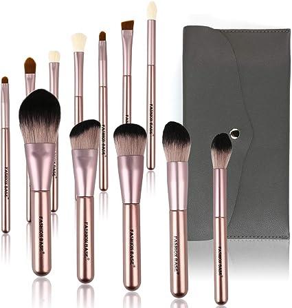 Juego de brochas de maquillaje, 10 brochas de maquillaje Kabuki profesionales con estuche para maquillaje de cara cortada con ojos y bolsa de maquillaje de viaje incluida (negro y dorado): Amazon.es: Belleza