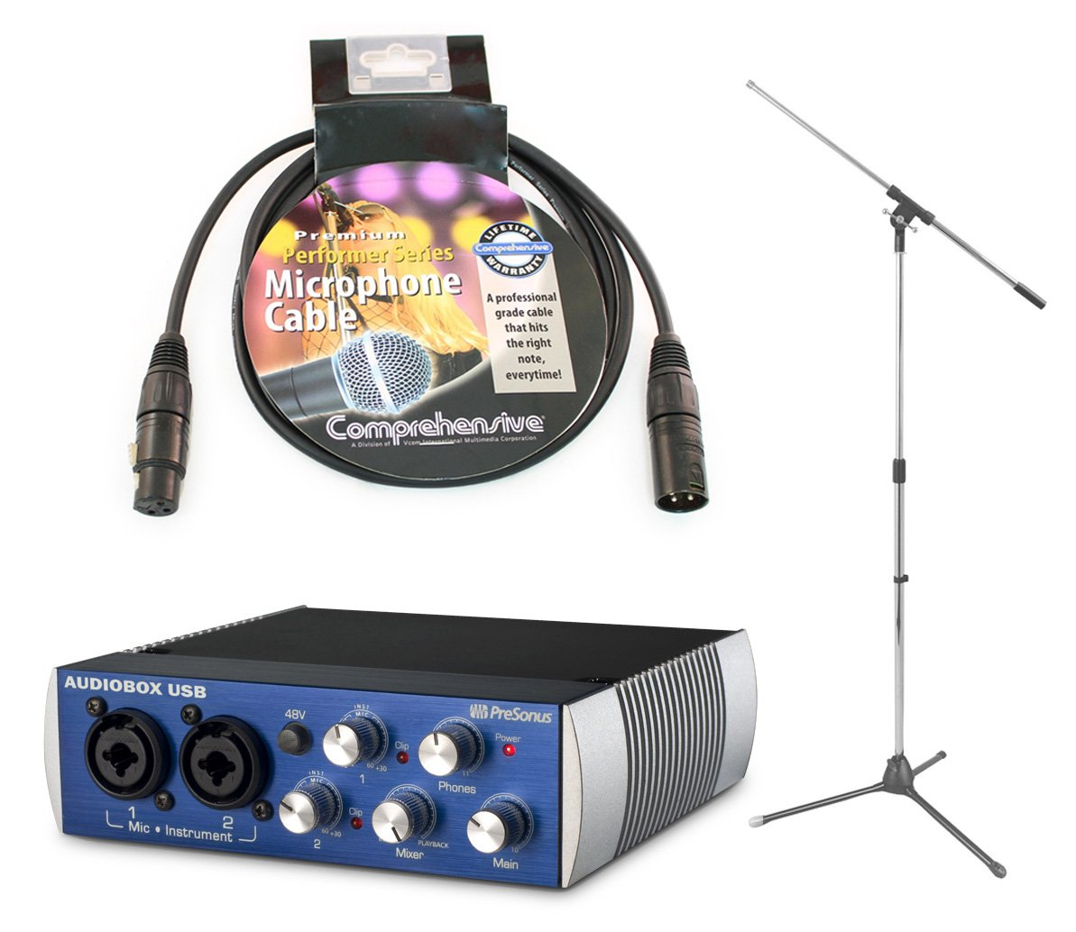 Presonus AudioBox USB Portable and Lightweight 2x2 USB Recording System with On Stage Boom Mic Stand and Comprehensive XLR to XLR 25' Premium Microphone Cable by PreSonus