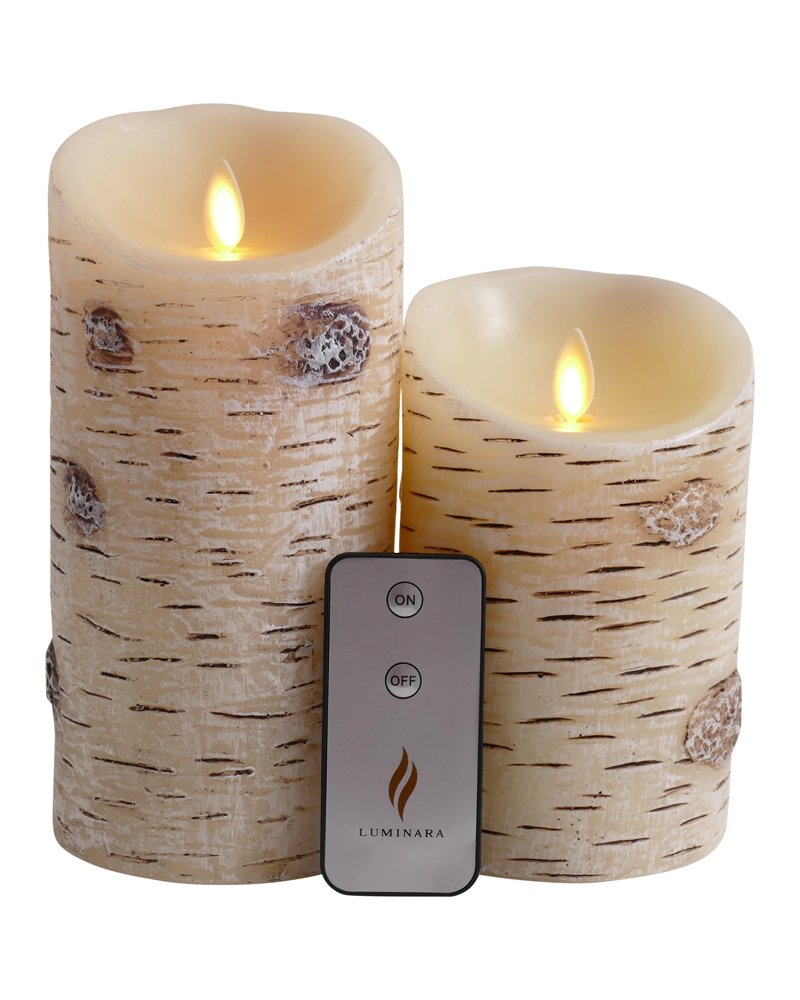 Set of 2 Luminara Birch Bark Flameless Candles: 3.5''x5'' 3.5''x7'' Unscented Moving Flame Candle with Timer, Remote, Batteries