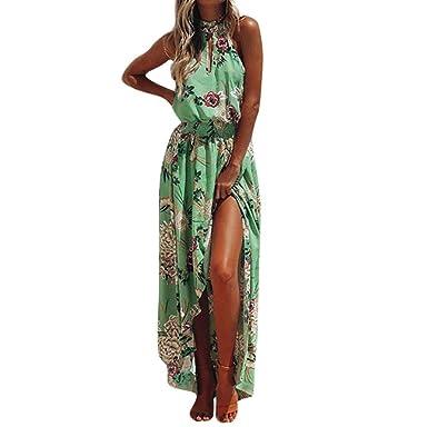 ea2291a48a87 Kimloog Chiffon Maxi Dress, Women Floral Print Halter Neck Sleeveless Boho  Irregular Beach Long Sundress