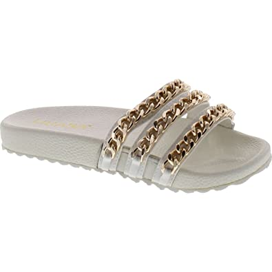 aa571f874af3f Liliana Nomi-2 Women Flip Flop Gold Chain Link Slide Slip On Flat Sandal  Shoe