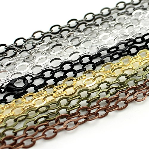 14 CleverDelights 5x7mm Flat Oval Link Necklaces - Mix Pack - 24