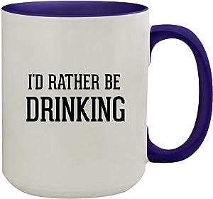 I'd Rather Be DRINKING - 15oz Colored Inner & Handle Ceramic Coffee Mug, Deep Purple