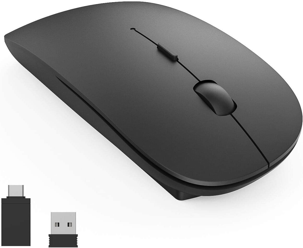 Wireless Mouse, 2.4G Slim Window Laptop Wireless Mice, with USB Receiver and Type-C Adapter, 1600DPI Silent Click Cordless Computer Mouse for PC/Laptop/Mac/Desktop(Matte Black)