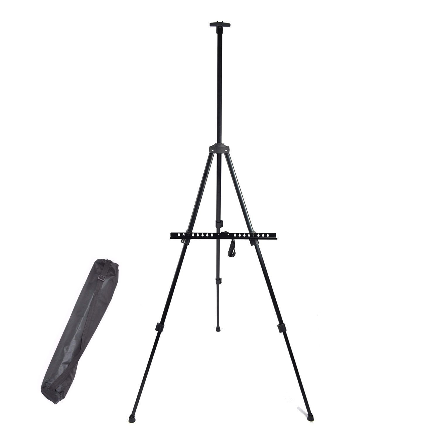 Dulcii Display Easel Stand, Portable Iron Metal Triangular Artist Easel Tripod Adjustable Display Stand for Poster Displaying Drawing and Paint, with Storage Bag