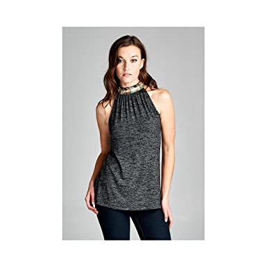 7ba4fb5be7abc The Beat Goes On Embellished Halter Top at Amazon Women s Clothing ...