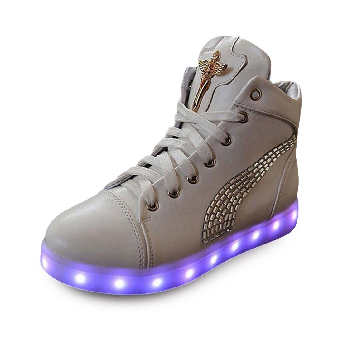 O&N LED Schuh USB Aufladen 7 Farbe Leuchtend Sportschuhe Sneakers Turnschuhe Freizeit Schuhe fuer Unisex-Erwachsene Herren Damen Kinder kdnukuC3L