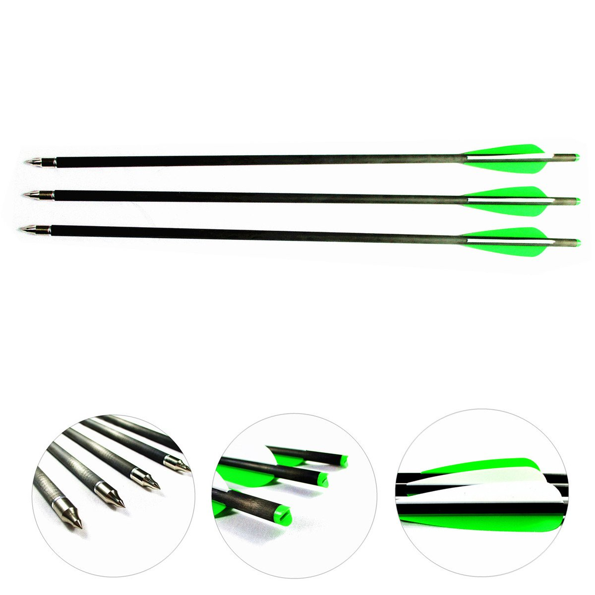 Letszhu Carbon Crossbow Arrows, Archery Target Hunting Arrows Shaft with 4'' TPU Vanes and Replaceable Tips for Crossbow Bolts (16 Inch Pack of 6)