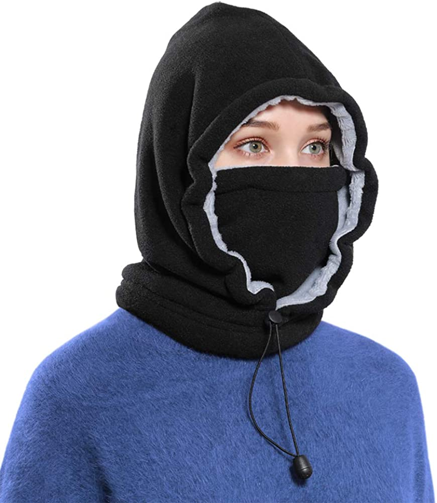 Frauen Männer Thermal Fleece Beanie Mütze Snood Scarf Neck Warmer Ski Balaclava