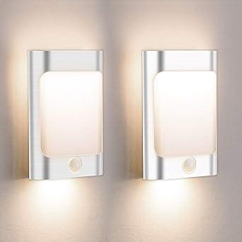 Lampara De Pasillos Luz Noche Con Luz Sensor Lámparas De Escalera USB Rechargeable Lámparas De Pared Blancas: Amazon.es: Iluminación