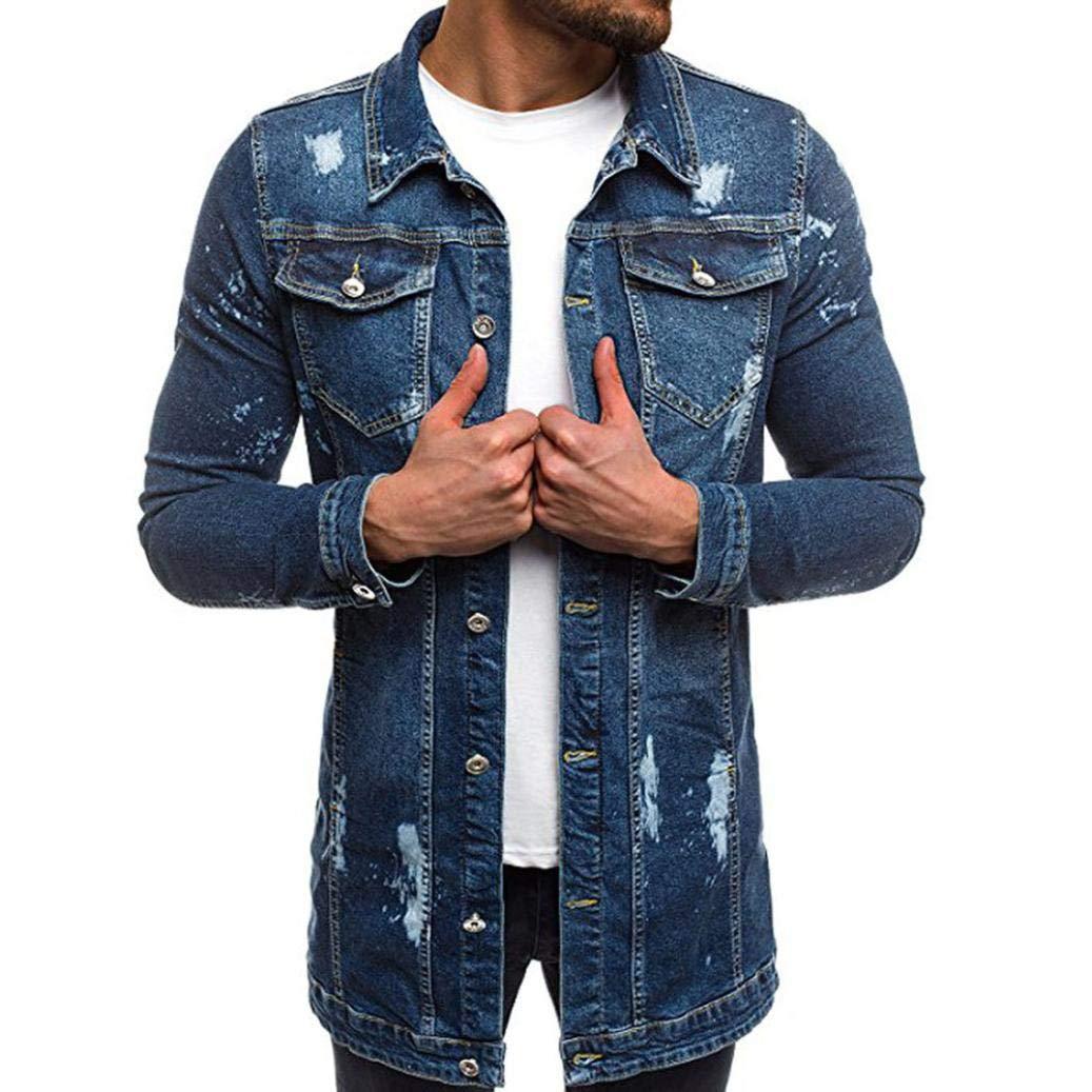 OWMEOT Men's Big & Tall Long Sleeve Western Snap Denim Shirt (Dark Blue, M)