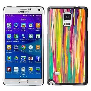 TopCaseStore / la caja del caucho duro de la cubierta de protección de la piel - Lines Watercolor Kids Art Painting - Samsung Galaxy Note 4 SM-N910