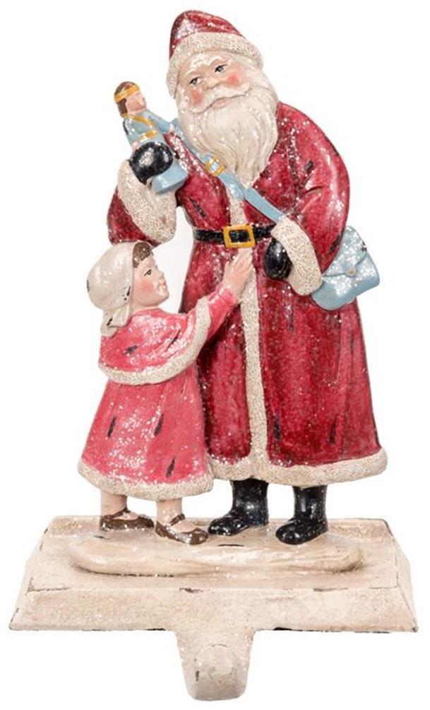 Christmas Stocking Holder Glittered Santa with Girl, 8.5'' Tall